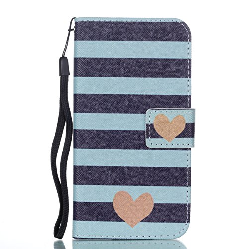 CaseforYou Hülle iphone X Schutz Gehäuse PU Leather Hülse Case Magnet Closed Flip Stand Cover with Card Holders and Lanyard Schutzhülle für iphone X Handy (Brown) Stripe Heart