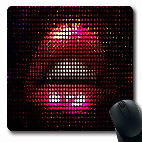 Lady Mosaik (Mousepad Oblong Sexy Red Night Nightlife Mosaik Mädchen Hot Lady Neon Make-up Design Erotik Büro Computer Laptop Notebook Mauspad, rutschfeste Gummi)