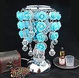 Elegante Tischleuchte Rosen-Wasser-Tröpfchen-Induktions-Duft-Lampen-Stecker-Öl-Lampe kreative kleine Tischlampe-Geburtstags-Geschenke, Rosa (Farbe : Blau)