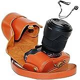 First2savvv XJPT-A7R-09 brun PU cuir étui housse appareil photo numérique pour SONY A7 A7R avec Lens 28-70 mm + corde Lens