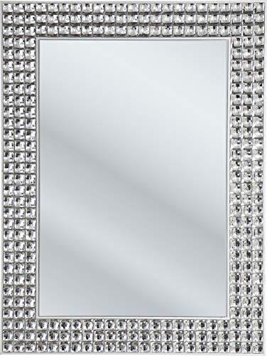 Kare Design Spiegel Crystals, 80x60cm, kleiner Wandspiegel, Schminkspiegel silber, Badspiegel mit Kristall Rahmen, Flurspiegel (H/B/T)80x60x4cm