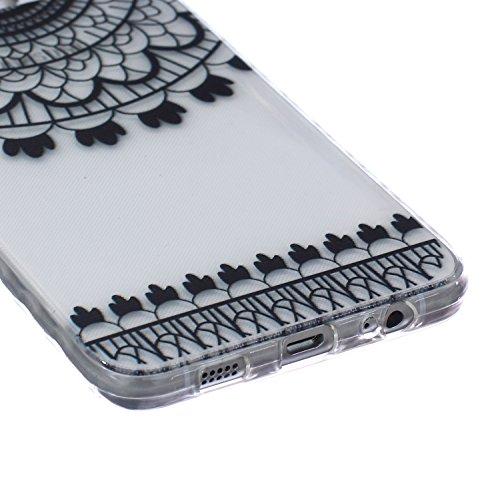 Ekakashop Coque pour Samsung Galaxy S6 Edge Plus, Ultra Slim-Fit Flexible Souple Housse Etui Back Case Cas en Silicone pour Galaxy S6 Edge Plus, Soft Cristal Clair TPU Gel imprimée Couverture Bumper d Dream Catcher Noir