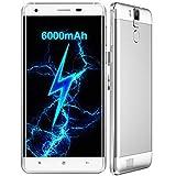 OUKITEL K6000 Pro - 5,5 Zoll FHD Android 6.0 4G Smartphone 3GB RAM 32GB Octa Kern 6000mAh Batterie spritzfest staubdicht Schnellladung 16MP - Silber