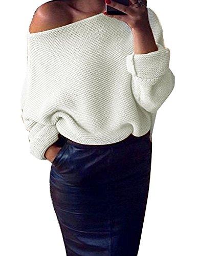 Minetom Femme Automne Pull Casual épaules Dénudées Pull en Maille Sweater Tops Tricots Chandails à Manches Longues Sweatshirt Blanc