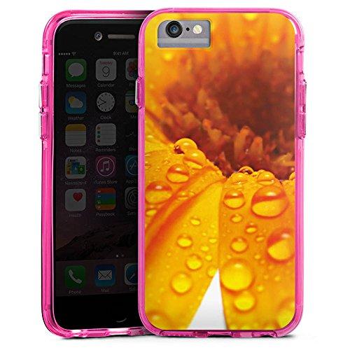 Apple iPhone X Bumper Hülle Bumper Case Glitzer Hülle Blume Flower Tropfen Bumper Case transparent pink