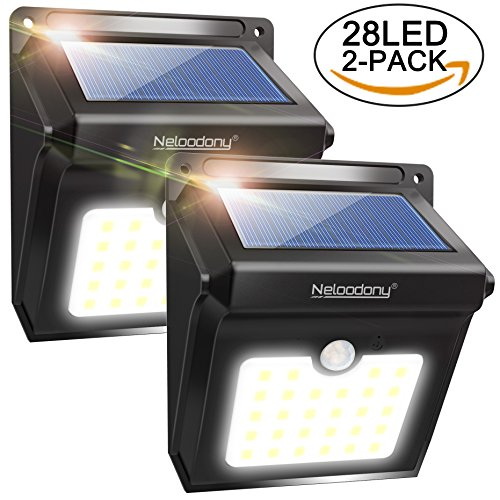 Wide-decken-leuchte (Solarleuchten mit Bewegungs Sensor , Neloodony 28 LED solarbetriebene Lampen für draußen, wasserfeste Solar Beleuchtung with 120 Degree Wide Angle for Garden, Patio, Walkways [2 Pieces])