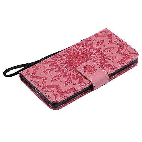 Für Huawei P7 Fall, Prägen Sonnenblume Magnetische Muster Premium Soft PU Leder Brieftasche Stand Case Cover mit Lanyard & Halter & Card Slots ( Color : Blue ) Pink