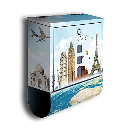 Cassetta delle lettere con decorazione motivo: viaggio bk268, Cassetta postale con giornale rotolo, Mailbox, cassetta delle lettere Design, in acciaio inox Designer Post Box