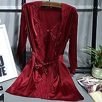 PPOJAS Schlafanzug Luxury Lace Satin Silk Robe & Kleid Set Zwei Stücke Bademantel + Nachthemd Brautjungfern Hochzeit Nachtwäsche Set für Frauen