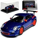 Schuco Porsche 911 997 GT3 RS Blau Violett mit Rot 2004-2011 H0 1/87 Modell Auto