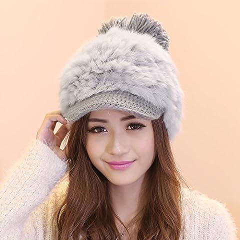 Dngy*L'inverno elegante peli di coniglio cappelli a maglia campagna hat bel bambino sfera lordo cappello di pelliccia di marea , grigio