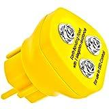 Minadax Erdungsbaustein - EBP - Innovativer ESD-Schutz - Antistatik Erdungsstecker Schutzkontaktstecker - Deutscher Steckdosen-Standard - 3 x 10 mm Druckknopfbuchse - 1 Megaohm Sicherheitswiderstand