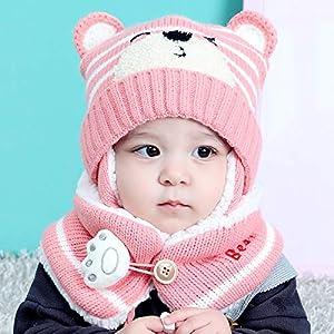 Wildlead Bebé Niño Invierno Orejeras de Punto Beanie Cap Bufanda Conjunto Niños Sombrero de Oso de Dibujos Animados 7