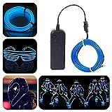 ALED LIGHT® 5M Resplandeciente efecto estroboscópico de luz electroluminiscente El alambre paquete de baterías para fiestas, decoración de Halloween (Azul)