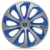 SPARCO SPC1573SVBL Sicilia 4 Stück Radzierblenden, Silber/Blau, 4 Stück, 15