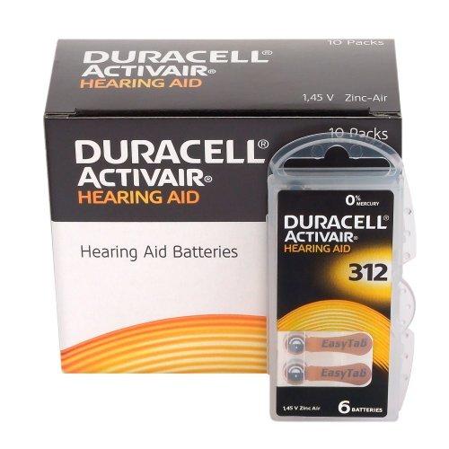 Duracell Easytab DA 312 - für alle Hörgeräte mit Batterietyp 312 10 x 6 Stück (Hörgerät-batterie)