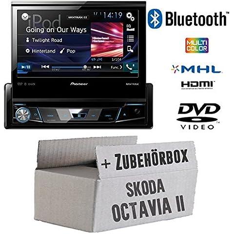 Skoda Octavia 2 1Z - Pioneer AVH-X7800BT - 1-DIN 7-Zoll USB Bluetooth DVD - Autoradio - Einbauset