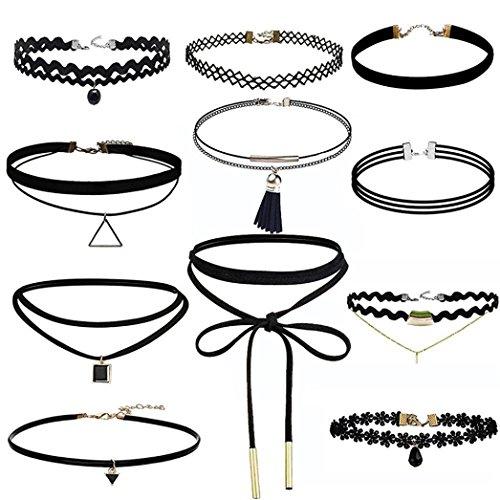 VENMO 11 Piezas Conjunto de Collar Gargantilla Terciopelo del Estirami