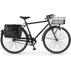 """MBM Notting Hill - Bicicleta de paseo para hombre, cuadro de acero talla 52, frenos V-Brake, ruedas de 28"""", color negro"""