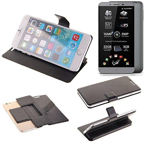 K-S-Trade Schutz Hülle für Allview V2 Viper S Schutzhülle Flip Cover Handy Wallet Case Slim Handyhülle bookstyle schwarz