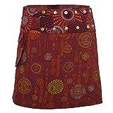 PUREWONDER Damen Wickelrock Baumwolle Rock mit Tasche sk184 Rot Einheitsgröße verstellbar