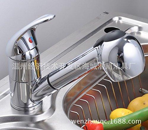 LEI Pull Down rubinetto monocomando primavera girevole, Rubinetti per lavabo con doccetta estraibile,