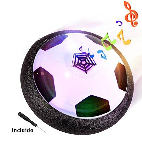 Air Hover Ball Balón de Fútbol Flotante con LED, Pelota con Suspensión de Aire, Formación Deportiva sin Riesgo, Ideal Juguete y Regalo para Chicos, Negro