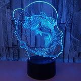 Pez carpa lámpara 3D colorido control remoto táctil 3D lámpara LED estéreo tridimensional pequeña lámpara de mesa