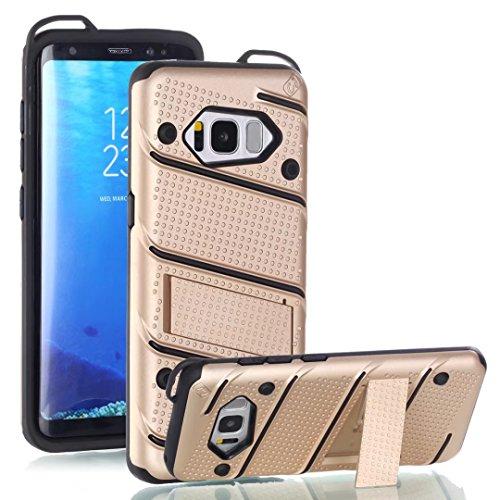 EKINHUI Case Cover Dual Layer Hybrid Armor Schutzhülle Shockproof Stoßfänger mit Kickstand für Samsung Galaxy S8 ( Color : Rosegold ) Gold