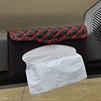 nuiOOui131-Easy to Install Convenient to Use Stylish Car Sun Visor Mount Faux Leather Tissue Box Paper Napkin Case Holder - White Line