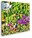 deyoli blühende Blumenwiese Format: 70x70 Effekt: Zeichnung als Leinwandbild, Motiv fertig gerahmt auf Echtholzrahmen, Hochwertiger Digitaldruck mit Rahmen, Kein Poster oder Plakat