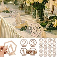 Barlingrock Number Table 1-20 Wooden Table Numbers Card Set with Base Great for A Wedding Or Party Birthday Party Table Decorations