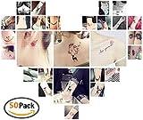 Temporäre Klebe Tattoos Flash Tattoos temporär Tätowierung Körperkunst Aufkleber Tattoos Sticker Körper Schmuck für Urlaub Geschenk Mädchen und junge Frauen (50 fogli)