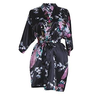Elite99 Women's Sexy Robes Peacock and Blossoms Kimono Satin Nightwear Mini Dress (M, Black)