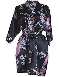 Elite99 Women s Sexy Robes Peacock and Blossoms Kimono Satin Nightwear Mini  Dress 20f7bb2b7