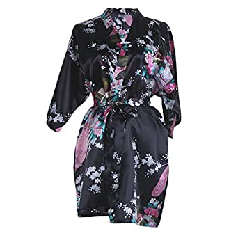 Elite99® Women's Sexy Robes Peacock and Blossoms Kimono Satin Nightwear Mini Dress (M, Black)