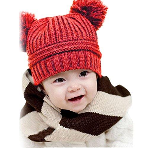 KanLin Cute Baby Dual Balls Warm Winter Knitted Cap Hat Beanie (Red) (Old Bay Kostüm)
