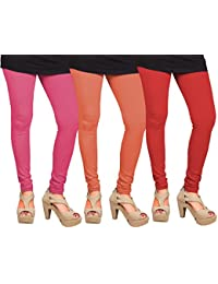 CAY 100% Cotton Combo of Red, Orange and Baby Pink Color Plain, Stylish & Most Comfortable Leggings For Girls & Women with Full Length (SIZE : Free Size)