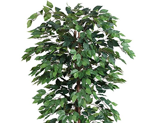 Kunstbaum 200cm Ficus Benjamini grün mit 2064 Blätter aus Textilfaser Material - 5