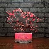 3D Lampara Led Luz Ilusión óptica Botón táctil color o 7 colores cambiar gradualmente Decoración del dormitorio del bebé regalo del día de San Valentín sueño asistido dinosauro