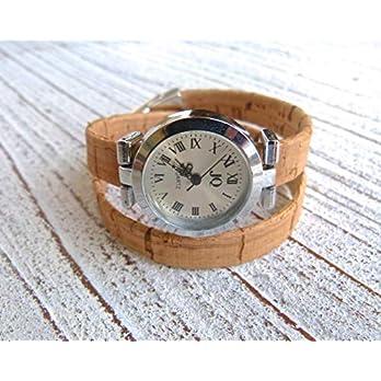 Armbanduhr Damen zum Wickeln vegan aus Kork in beige Geschenk