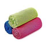 Kühltuch Kühlhandtuch 3 Pack Sofort sofortige Cool Gym Handtuch Mikrofaser-Handtuch Kühlung Sport Handtuch für Yoga Reise Climb Golf Fußball Tennis & Outdoor Sports(Rose grün blau,36 x 12