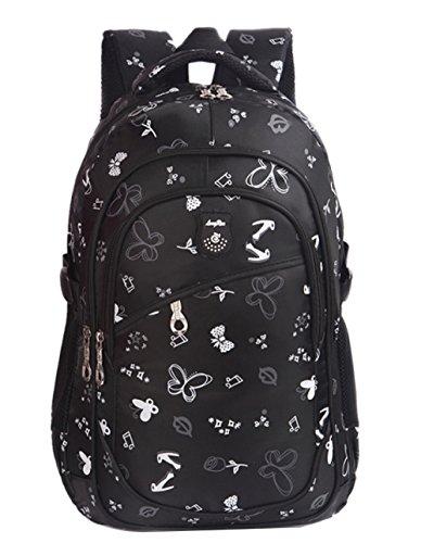 FLHT, Jungen Und Mädchen Schultasche Rucksack 1-3-6 Primary Schultaschen Wasserdichte Weight Loss Light Travel 6-12 Jahre Rucksack,Black-big -