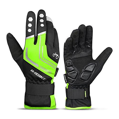 Inbike Fahrradhandschuhe Winter Thermo Gepolsterte Handfläche Radsport Gel Handschuhe Windddichte(Grün L)