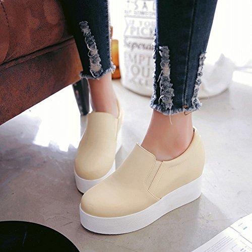 Mee Shoes Damen hidden heels runde Plateau Pumps Beige