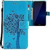 CLM-Tech kompatibel mit Huawei Mate 10 Lite Hülle, Tasche aus Kunstleder, Baum Katze Schmetterlinge blau, PU Leder-Tasche für