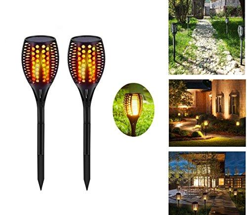 Solar Garten-Lichter, im Dancing Flammen Beleuchtung 96LED Dusk to Dawn Automatische an/aus Sicherheit Solar-Taschenlampe Licht für Terrasse Deck Einfahrt (2Pack)