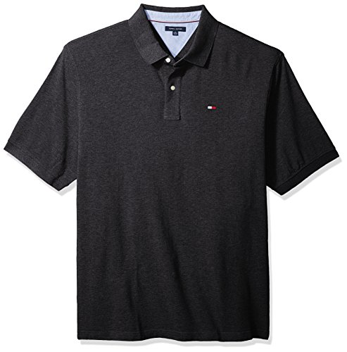 Tommy Hilfiger Men's Big and Tall Polo Shirt IVY, Charcoal Grey, TL-4XL (Tall Poloshirt Big Herren)