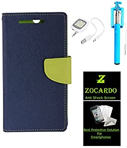 Zocardo Fancy Diary Wallet Flip Case Cover For Motorola Moto G4 Plus -Blue + Glass Screen Protector+ Slefie Stick+ Camera Flash