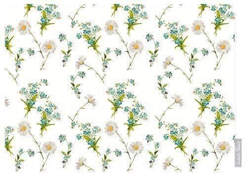 Izabela Peters Designer Étanche Extérieur Jardin Nappe - Wildflowers - Lakeland - Collection Conçu Imprimé& Main in The UK (Choix de Longueurs) - Blanc